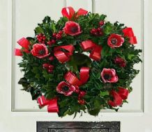 Red Christmas Holly Wreath